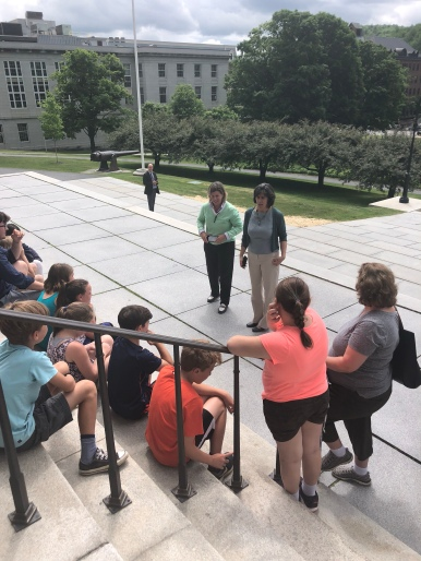 Modelling bipartisanship for Vermont students: Democratic Speaker of the House Mitzi Johnson and Republican Representative Heidi Scheuermann breaking from last year's heavily contested budget debate for fire drills and an impromptu bipartisan civics lesson.