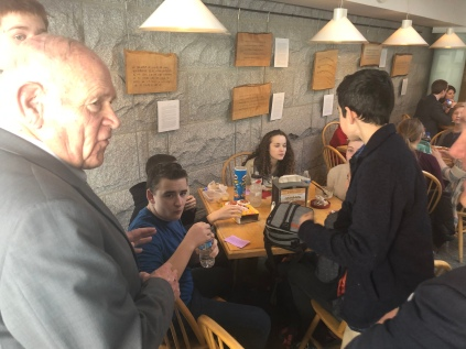 Sen. Sears stopped to talk with students in the cafeteria